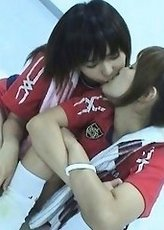 Seira Kinomoto Asian and babe in sport outfit kiss each other